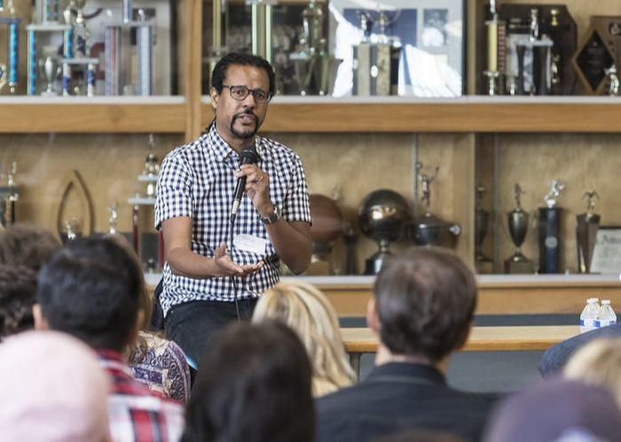Colson Whitehead talks to community members